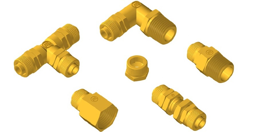 Tube Fittings for plastic tube with nut compression system Meceplast®